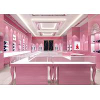 China Glossy Pink Color Showroom Display Cases 8MM And 6MM Tempered Glass Materials wholesale