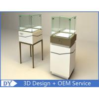 Buy cheap High Square Glass Jewelry Display Case With Lights Logo / Shop Glass Display from wholesalers