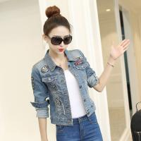China Quick Dry Free Size Womens Cropped Denim Jacket Tailoring Slim Fit Casual Style wholesale