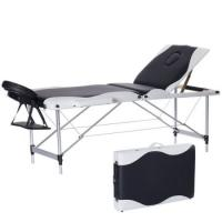 China Fashion White&Black Massage Table Bed Facial SPA Beauty Salon Bed W/free Carry Case-Black wholesale
