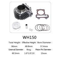 China WH150 Aluminum Motorcycle Cylinder Kit With Piston , Piston Ring , Pin , Clip And Gasket wholesale