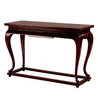 China Pedestal Style Wood Console Table With Distressed Finish Gold Leaf Glass Table wholesale