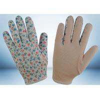 China Flower Printed Cotton Gardening Gloves Slip Proof Three Stitches Lines wholesale