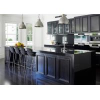 China European Pvc Kitchen Cabinets Waterproof Kitchen Units Black Color With Island Bench wholesale