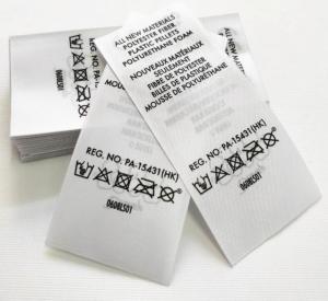 China Heat Transfer Swimwear Nylon Satin Wash Care Label / Heat Press Tagless Labels on sale