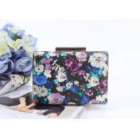 China Flowers painting printed surface pu metal frame rectangle shaped pu clutch bag for women wholesale