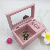Romantic Lovely Wooden Musical Jewellery Box , Pink Wooden Jewelry Box With Lock And Key