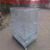 China Stackable Wire ContaStacking Storage Warehouse logistics cages For Forklift/Metal Bin Storage Container wholesale