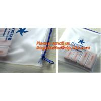 China Transparent pvc slider zip bag with blue side gusset, pvc zipper lock slider bag, Zipper slider clear pvc bag for ruler wholesale