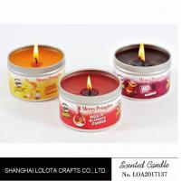 China Small Exquisite Wax Scented Tin Candles Round Sticker For Travel And Festival wholesale