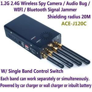 Quality 1.2G 2.4G Wireless Spy Camera Audio Bug WIFI Bluetooth Signal Jammer Blocker for sale