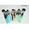 China Wooden Handle Makeup Cosmetic Brush Set Synthetic Hair Aluminum Ferrule Material wholesale