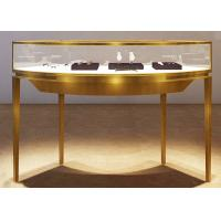 China Curve Shape Stainless Steel Jewelry Counter With Glass Light For Shopping Mall wholesale