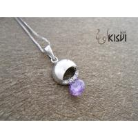 China OEM and ODM available amethyst silver gemstone pendants W-VB929 wholesale