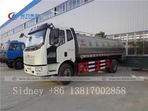 China FAW 4x2 8,000 liters 8cbm stainless steel fresh milk transport truck milk tanker truck wholesale