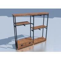 China Wooden Adjustable Metal Rack Shelf / Store Clothing Racks Disassemble Structure wholesale