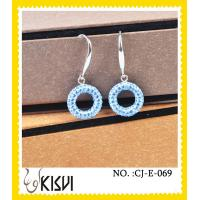 China 2012 hot selling blur round handmade crystal jewelry / long earrings wholesale