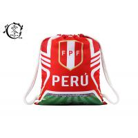 Custom World Cup Printed Drawstring Backpack Peru Team Sublimation  Gym Bag