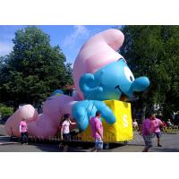 China Large Inflatable Cartoon Characters , Sewing Lovely Blue Inflatable Smurf wholesale