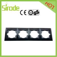 China Black Four Gang Wall Face Plate For European Switch&Socket Combination wholesale