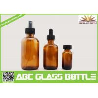 China 4oz 2oz 1oz 1/2oz 120ml 60 ml 30ml 15ml Amber Boston Round Glass Bottle For Essential Oil Use wholesale