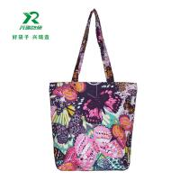 China China factory fashion flower canvas customized shopping bag shoulder bag 100% canvas handle bags wholesale