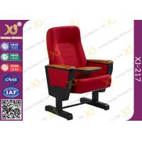 China Solid Wood Armrest Church Hall Chairs With Steel Leg , Red Town Hall Seating wholesale