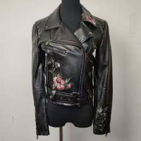 China Women's Short Embroidered Faux Leather Jacket Slim Fit For Spring And Autumn on sale