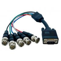 China VGA HD15 Male to 5 BNC RGBHV Male Monitor Cable, Black wholesale