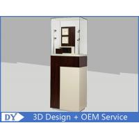 China Custom Wooden Coating Jewelry Tower Showcases With Led Light Brown Color wholesale