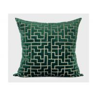 China Forest Green Decorative Throw Pillows Geometric Embroidered 100% Velvet wholesale