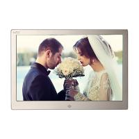China Golden HD Digital Photo Frame With Remote Control / 12.3 Inch Led Digital Photo Album wholesale