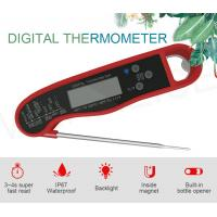 China Red ABS Digital Remote Meat Thermometer With Stainless Steel Probe 73.5g wholesale