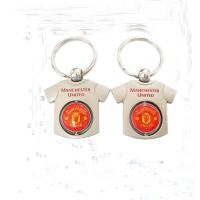 Round Blank Copper Custom Metal Keychains Epoxy Coating Surface Founded