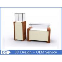 China Rectangle Square Jewelry and Exhibit Pedestal Display Case Brown + white Color wholesale