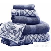China Luxuriously Soft Quickly Absorbed Yarn Dyed Cotton Jacquard Towel Set wholesale