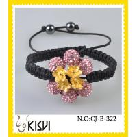 Quality OEM / ODM custom flower 10mm CZ crystal bangle bracelets with factory price for sale