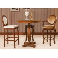 China Classic Espresso Counter Height Bar Stools , Wooden Swivel Bar Chairs With Back wholesale