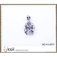 China 316 stainless steel exotic skull  pendant with blace enamel H-L2071 wholesale
