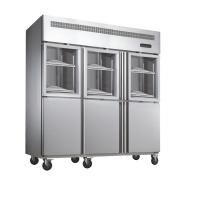 China Deep Commercial Upright Freezer 1600L 6 Glass Doors With Plastic Coated Steel Shelf wholesale