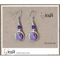 China OEM / ODM 925 fashion sterling silver gemstone earrings with purple zircon W-AS1161 wholesale