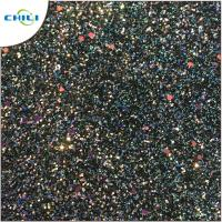 Flat Glitter Polyester Fabric Squares , Glitter Clothing Fabric Canvas Backing
