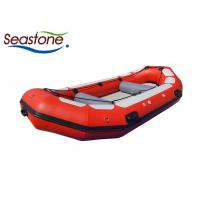 China 8 Person White Water Rafting Boat Red Low Profile Easily Maintained Air Mat Bottom on sale