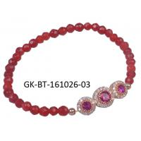 China Fashion design agate beads bracelet, rose gold plated silver bracelet with red beads wholesale