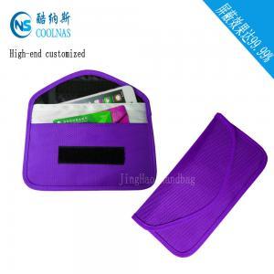 China Anti Radiation Purple RFID Travel Bags / Womens Rfid Wallet 19.5*9 Cm wholesale
