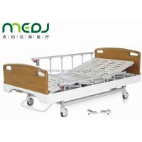 Quality Critical Care Manual Hospital Bed , Wood Foldable Hospital Bed With Central for sale