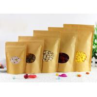 China Recyclable 4 Oz Kraft Paper Stand Up Pouch , Chips Packaging Bags Transparent Window on sale