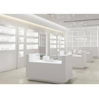 China Simple Wooden In Pure Matte White Jewelry Shop Decoration With Led Light wholesale