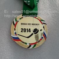 China Metal ice hockey medals with ribbon, polish brass metal hockey challenge cup medals, on sale