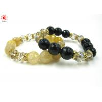 China Personalized Mens Black Stone Bead Bracelet with Charm , European Style wholesale
